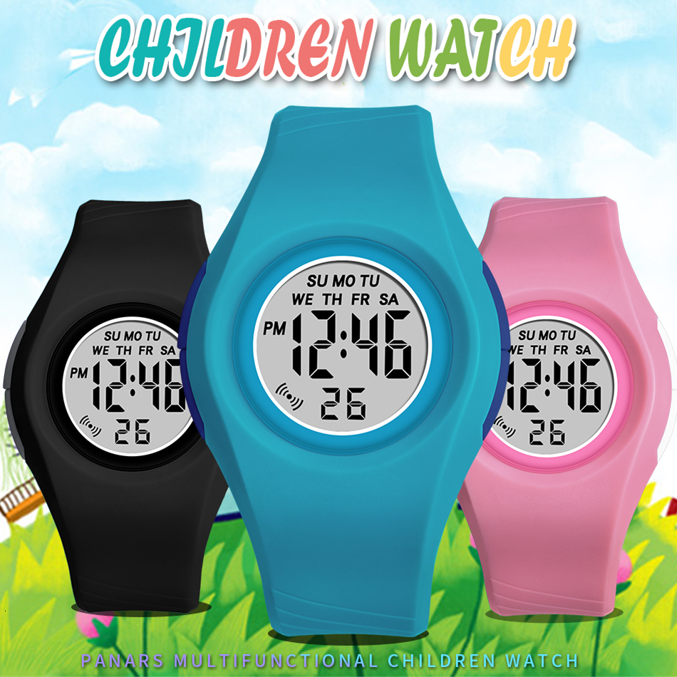 PANARS Student Children Watches For Boys Girls Kids Clock Wrist Watch Digital Black Silicone Baby Kid Watch Alarm Montre Enfant