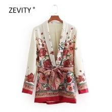 2018 mujeres Vintage rojo Retro estampado Floral Kimono traje chaqueta señoras cintura bowknot fajas prendas de vestir de negocios casual slim Coat CT070