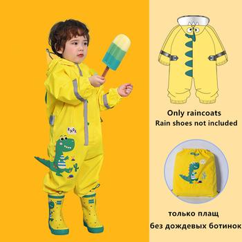 Moda Cartoon 3D dinozaur wodoodporny dzieci chłopcy kombinezon płaszcz przeciwdeszczowy dla dziewczyn z kapturem jednoczęściowy kreskówka z kapturem płaszcz przeciwdeszczowy dla dzieci garnitur tanie i dobre opinie Keconutbear CN (pochodzenie) RainWear Dinosaur raincoat Jednoosobowy odzież przeciwdeszczowa płaszcze przeciwdeszczowe