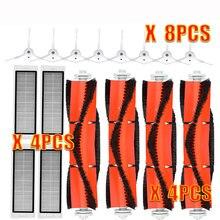 Brosse latérale avec filtre HEPA, 8x4 brosses principales pour aspirateur xiaomi roborock s50, roborock xiaomi Mi Robot