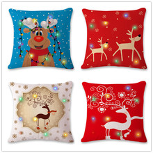 New Lantern Christmas Pillow LED Light Creative Printed Linen Case Wholesale Home Decorations for