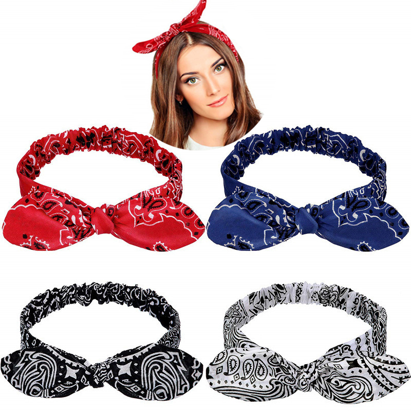 Head Wrap Women Girls Turban Knotted Stretch Hair Band Elastic Print Headband