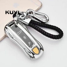 Ceyes Car Key Fob Holder Cover Case For Porsche Cayenne 911 996 Panamera Macan TPU Protection Shell Auto Accessories Styling