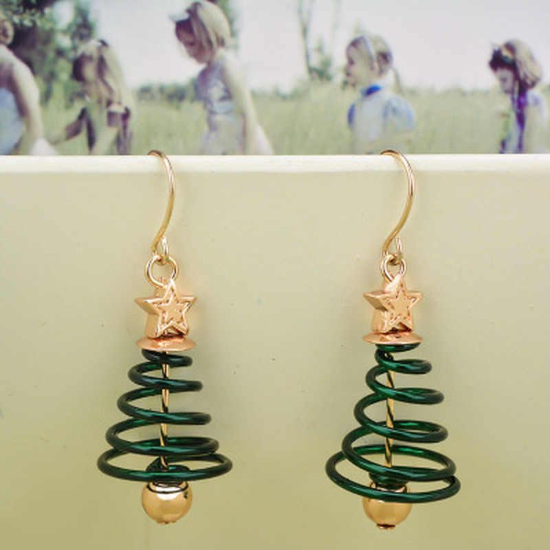 Супер милые Полые вращающиеся дерево Симпатичные серьги-гвоздики пятиконечная звезда с золотым мячом Рождество Фестиваль новый год серьги подарок