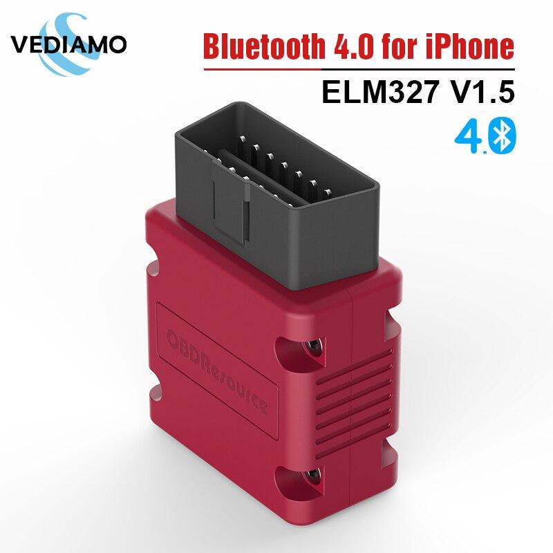 ELM327 V1.5 Bluetooth 4.0 for iPhone Faslink Car Diagnostic Scanner Code Reader Free Update with PIC18F25K80 Chipset