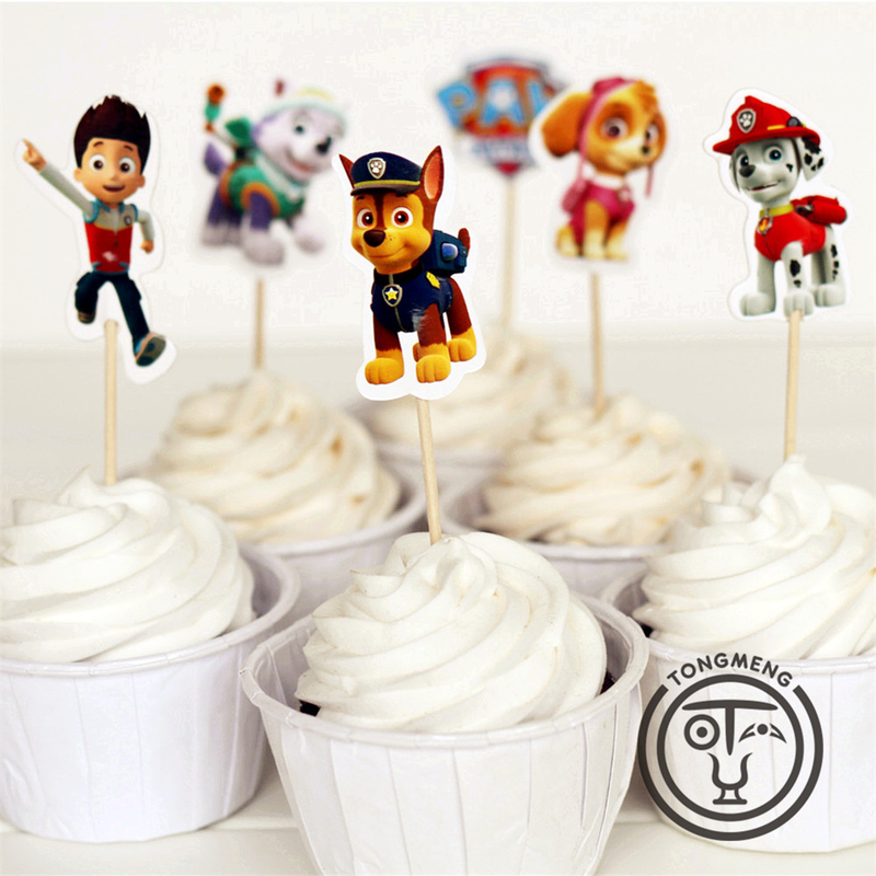 24 Pieces Paw Patrol Cake Card Fruit Plug-in Children Birthday Party Supplies 2p01