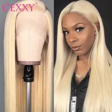 CEXXY transparente pelucas de encaje 13x4 rubia frente de encaje pelucas de cabello humano Pre arrancado con el pelo del bebé 613 peluca con malla frontal 30 pulgadas peluca