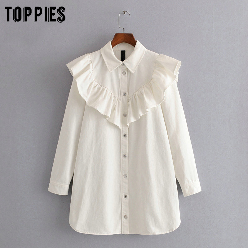 White Denim Shirts Dress Women Ruffles Blouses Vintage Long Sleeve Summer Dresss Sexy Mini Vestidos
