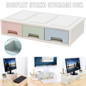Nowa podstawa monitora LCD uchwyt uchwyt z szuflada schowek pudełko typu organizer na pulpit DOM668 tanie i dobre opinie Etmakit 10 -20