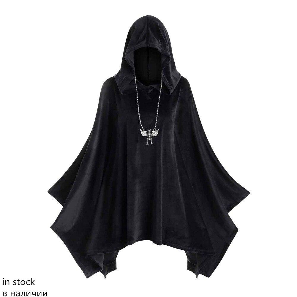 ROSEGAL grande taille à capuche velours Poncho femmes à manches longues manches chauve-souris gothique Capes hiver manteaux 5XL Halloween manteau pardessus