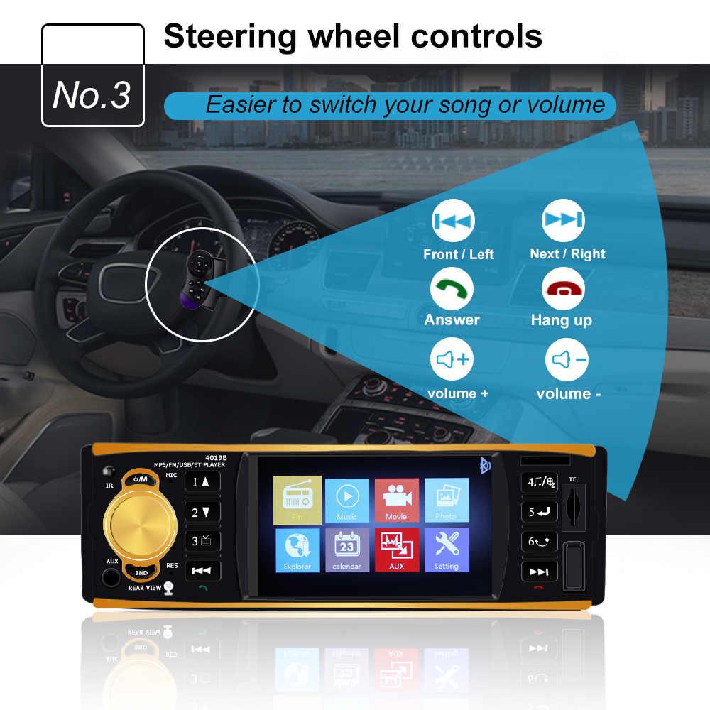 車ラジオ 1 din 4019B車ラジオ自動オーディオステレオfm bluetooth usb auxリアビューカメラステアリングホイールリモート制御
