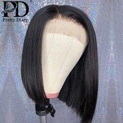 13x4 dentelle droite avant perruques de cheveux humains 4x4 dentelle fermeture perruque Remy brésilien droit Bob perruque dentelle frontale perruque pour les femmes noires