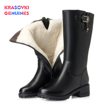 купить Krasovki Genuines Wool Women Snow Boots Warm Genuine Leather Fur Warm Shoes Plush Med Calf Boots Platform for Women Winter Boots дешево