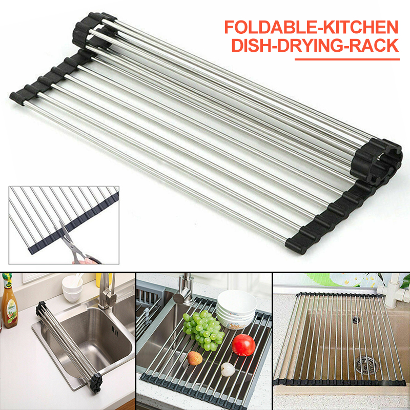 1pc Kitchen Drying Rack Kitchen Dish Drying Rack Over Sink Roll up Dry Drainers Stainless Steel Foldable|Racks & Holders|   - AliExpress