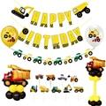 1 комплект Латексный Шар Стенд Автомобиль Стиль для маленьких мальчиков День рождения украшения экскаватор строительство автомобильные во...