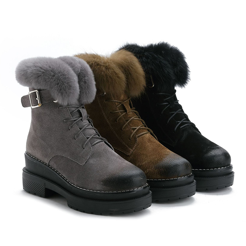 Image 4 - SWYIVY Rabbit Fur Winter Shoes Sneakers Women Ankle Boots Genuine Leather 2019 Winter New Plush Fur Snow Boots Warm Shoes Female-in Ankle Boots from Shoes