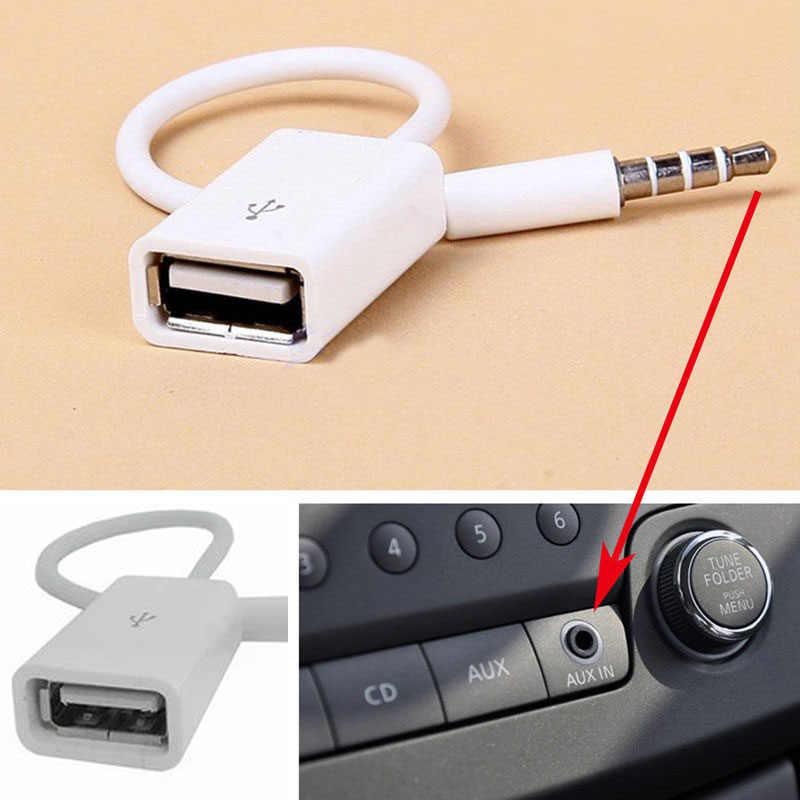 12V USB 2.0 Perempuan untuk MP3 DC 3.5 Mm MALE AUX Audio Plug Jack Converter Kabel Kabel Kesetiaan Yang Tinggi anti-Jamming Mobil Aksesoris
