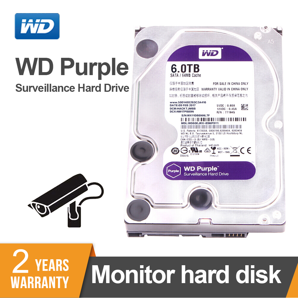 WD Purple 6TB Surveillance <font><b>HDD</b></font> Hard Disk Drive <font><b>SATA</b></font> 6.0Gb/s <font><b>3.5</b></font>