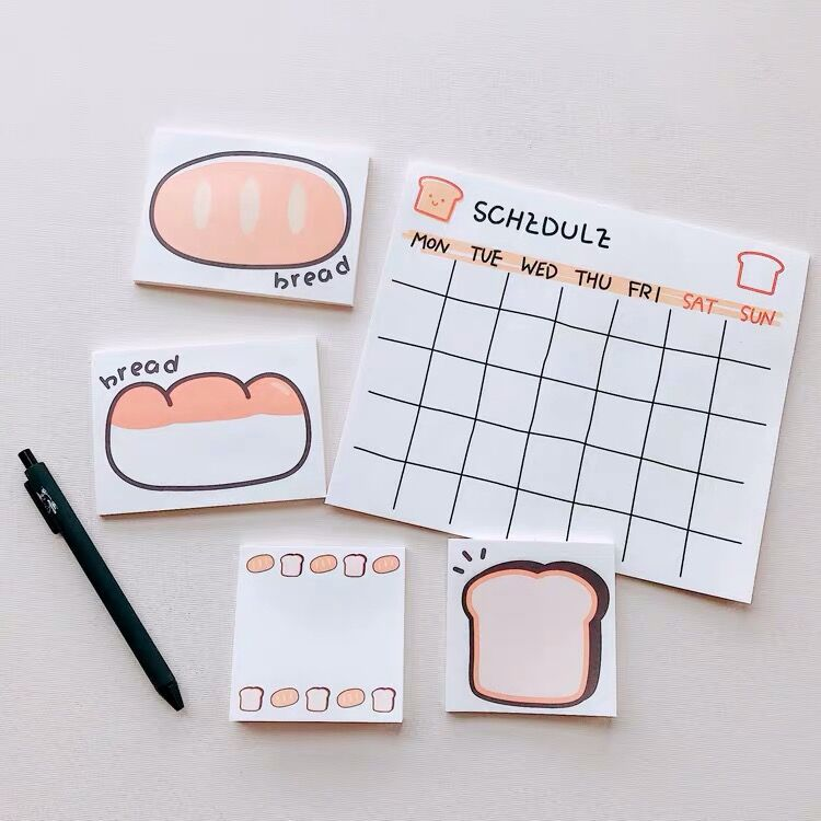 2020 Sharkbang  50 Sheets Kawaii Bread Series Memo Pad Sticky Notes Notepad Monthly Planner Paperlaria School Office Stationery