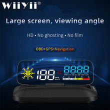 Large scren C5 OBD2 HUD Mirror Car Head Up Display GPS Navigation Digital Speed Projector Security Alarm Oil Temp 2020(China)