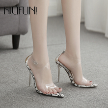Sexy Pointed Toe Transparent Snake Pattern Womens Sandals Crystal Heel Stiletto High Heels Buckle Shoes Plus Size 35-42