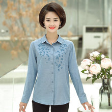 купить Blue Pink Cotton Shirts Women Small Flower Embroidery Roll-Tab-Sleeve Turn Down Collar Smart Casual Tops Female Plus Size Blouse дешево