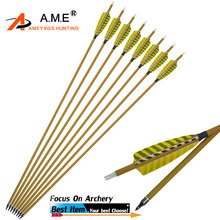 12Pcs Archery 30 Spine 450 ID6.2mm Mix Carbon Arrows 4 Feather Replaceable Arrow Point For Outdoor Hunting Accessories