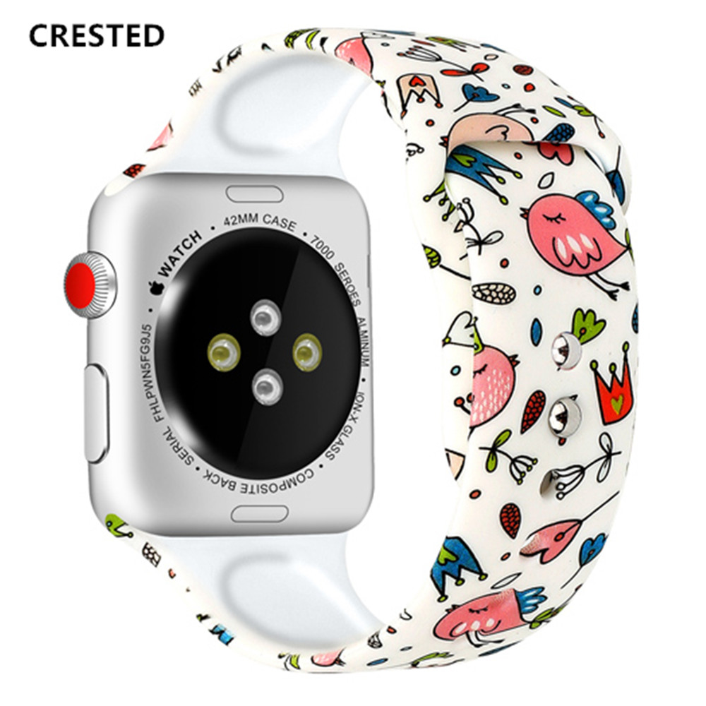 Silicone Strap For Apple Watch Band 44mm 40mm Pulseira Iwatch 42mm 38mm Printing Women Bracelet Apple Watch Series 5 4 3 2 1