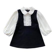 2021 vestido da menina de verão saia outing casual falso vestido de duas peças vestidos de festa