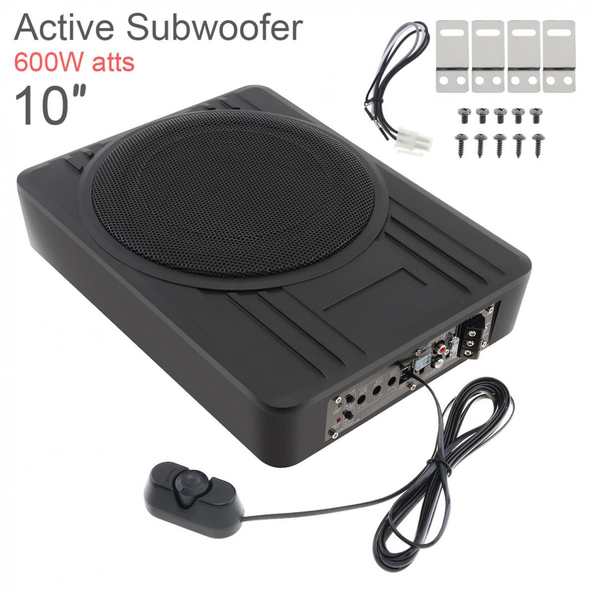 Fuselage noir universel mince 10 pouces 600W mince sous siège voiture Subwoofer actif amplificateur de basse haut-parleur nouveau