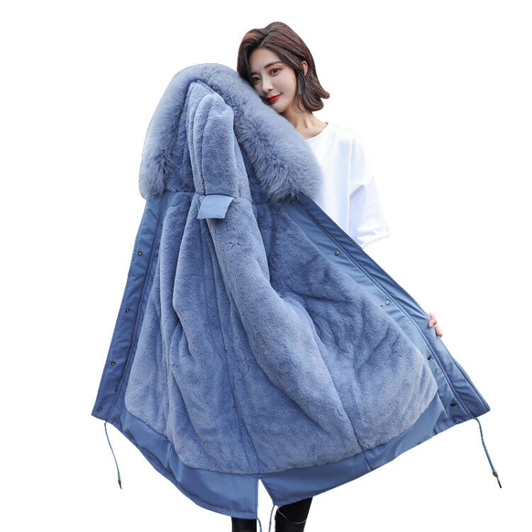 Winter Coat Down-Jacket Parka Women Thickened Long Cotton Ladies Slim