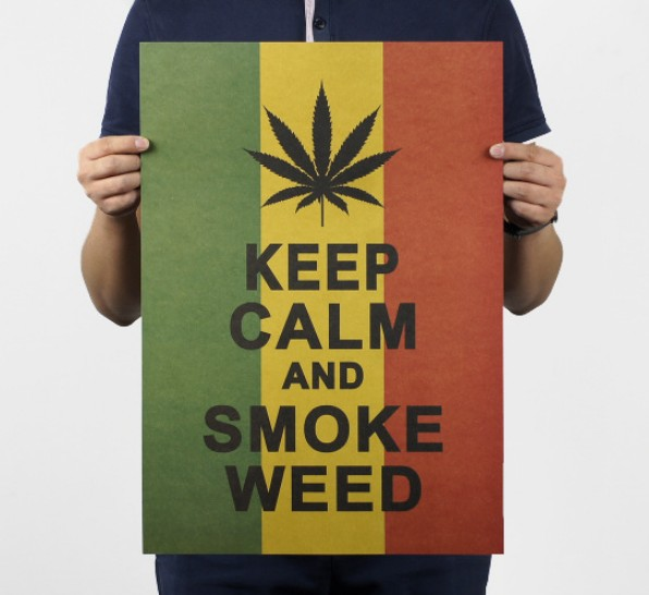 Keep Calm And Smoke Weed Vintage Kraft Paper Classic Movie Poster Map School Wall Garage Decoration  Art  Retro Prints