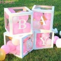 HUIRAN nombre del bebé caja para BABY Shower niña niño decoraciones 2ª cumpleaños 1 año niña decoración de fiesta con diseño de feliz cumpleaños niños Babyshower