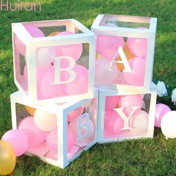 HUIRAN nombre del bebé caja para BABY Shower niña niño decoraciones 2ª 1ª cumpleaños 1 año niña decoración de fiesta con diseño de feliz cumpleaños niños Babyshower