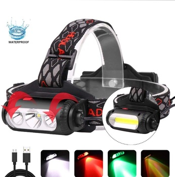 White & Green & Red Light Combo Headlamp Flashlight, Ultralight Compact Waterproof Rechargeable 2 In 1 Headlamp Flashlight LED C