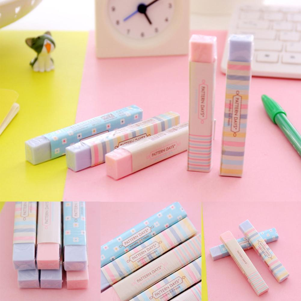 1piece Candy Color Eraser Korea Rainbow Strip Shape Painting Student 8.5x1.3cm Correction Tool Office Stationery School Era J7V5