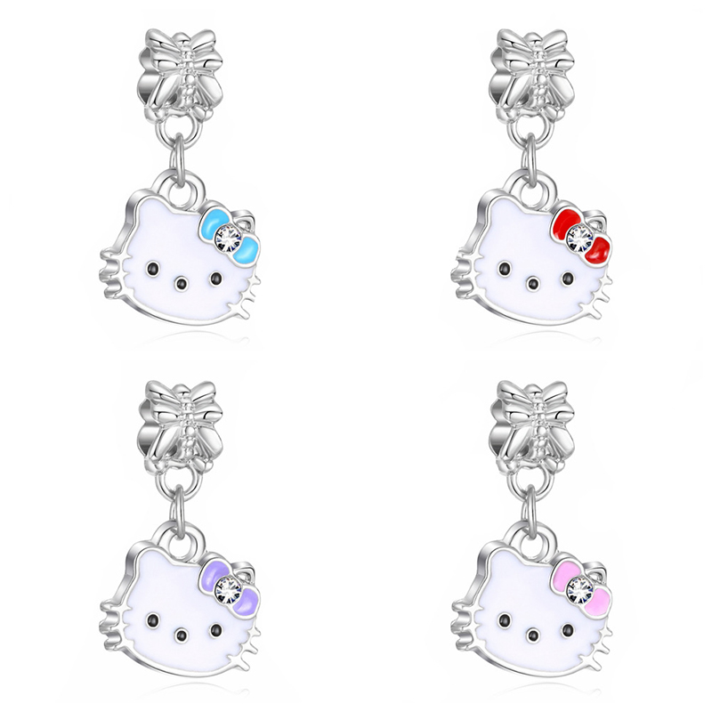 New KT Cat Stainless Steel Alloy Painting Oil Pendant DIY Panjia Style European Bead Bracelet Accessories Pendant