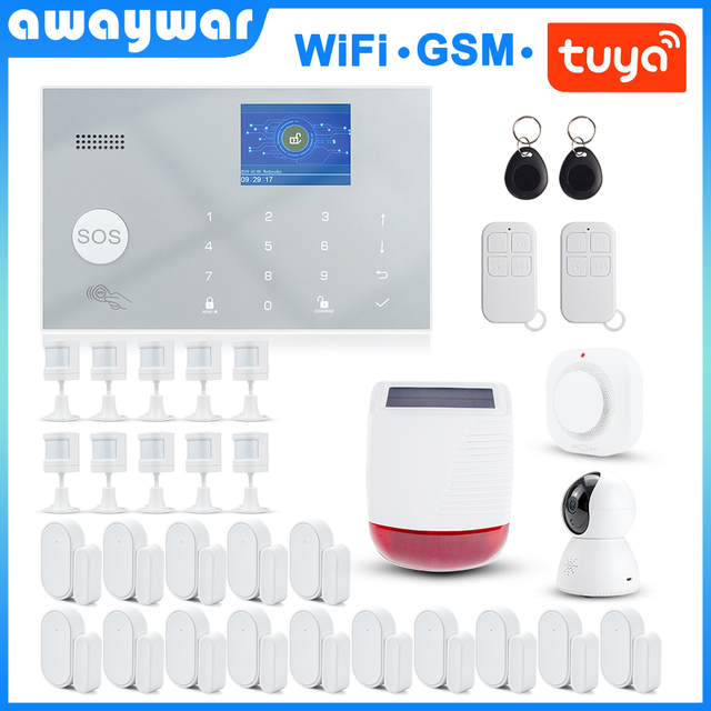 Awaywar Tuya 433MHz Wireless WIFI GSM RFID Security Alarm System kit APP Remote Control Burglar Smart Home PIR Door Detector 1