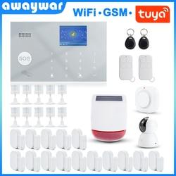 Awaywar Tuya 433MHz Drahtlose WIFI GSM RFID Sicherheit Alarm System kit APP Fernbedienung Einbrecher Smart Home PIR Tür detektor