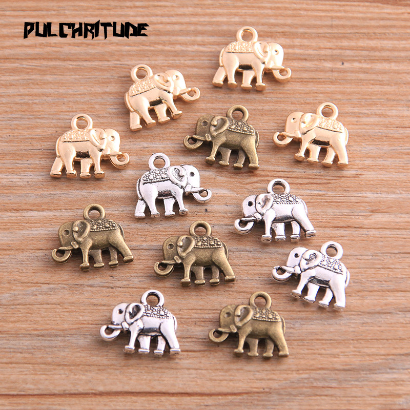 20pcs 12*13mm Three Color Metal Zinc Alloy Small Elephant Charms Fit Jewelry Animal Pendant Charms Makings 1