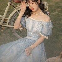 Summer Women Korea Japan Sexy Slash Neck Long Dress Lace Puff Sleeve Fairy Maxi Dress Mesh Bowknot Princess Dress