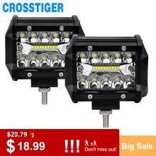 Barra de luz LED superbrillante de 4 pulgadas, Bombilla de barra LED de 60W, foco combinado de haz para conducir fuera de carretera, barco, coche, Tractor, camión, luces antiniebla