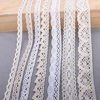 Cintas de red de encaje bordado de algodón blanco y Beige de 10 yardas, adorno de tela para boda, fiesta, manualidades, tela de coser bricolaje, Material hecho a mano