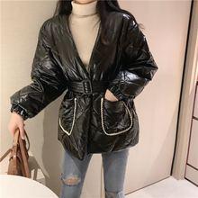 Женская куртка парка с высокой талией и v образным вырезом на