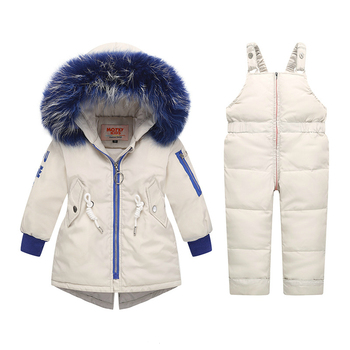 New Winter Kids Clothes Set Baby Boys Ski Suit Children Clothing Sets Real Fur Collar Down Coat+Overalls Toddler Girls Snow Wear