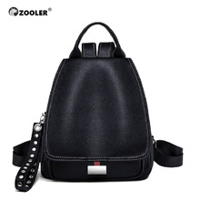ZOOLER NEW Genuine Leather Backpack Travel Bag Women Luxury Brand Backpacks School Tote Tags Large Mochilas Mujer 2019-#TZ200 zooler genuine leather backpacks for men 2016 new backpack schoolboy famous brand china hot large capacity hot 8338