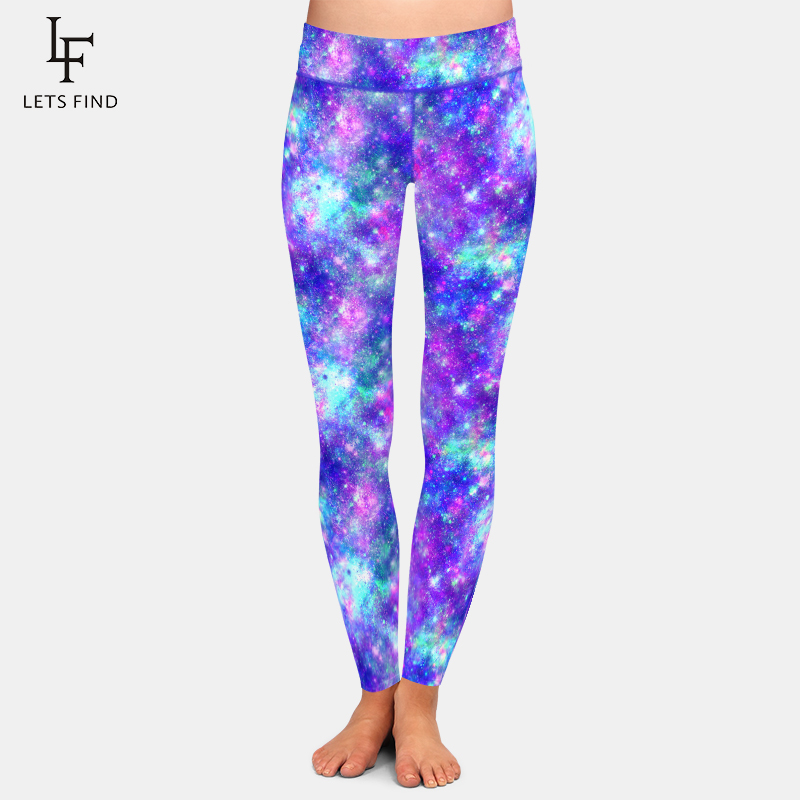 LETSFIND Beautiful Galaxy Design High Waist Plus Size Fitness Women Leggings Fashion Sexy High Quaility Workout Leggings
