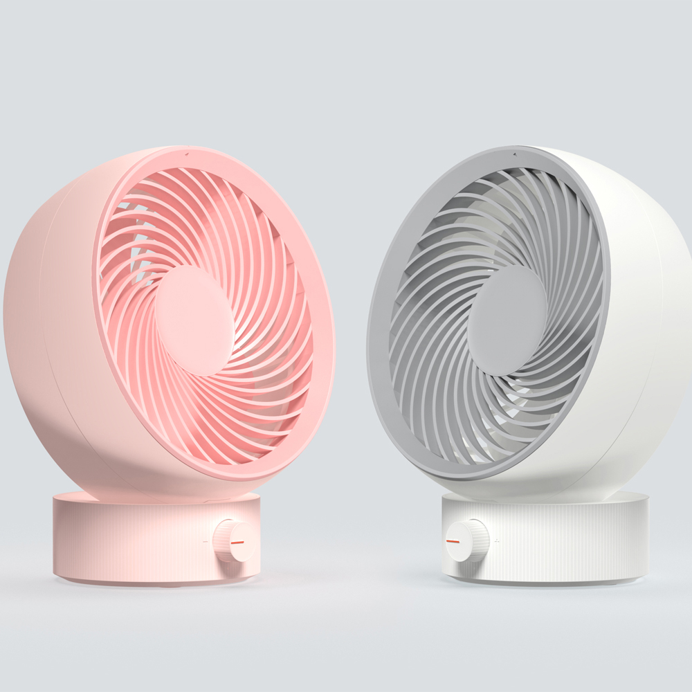 Mini Air Circulation Fan 330 Strong Wind Power USB Charging Low Noise High Wind White and Pink For Home Travel Use