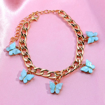 JUST FEEL Korean Sweet Insect Butterfly Bracelets Female Shining Gold Silver Color Metal Wide Bracelet 2020 Fashion Jewelry Gift