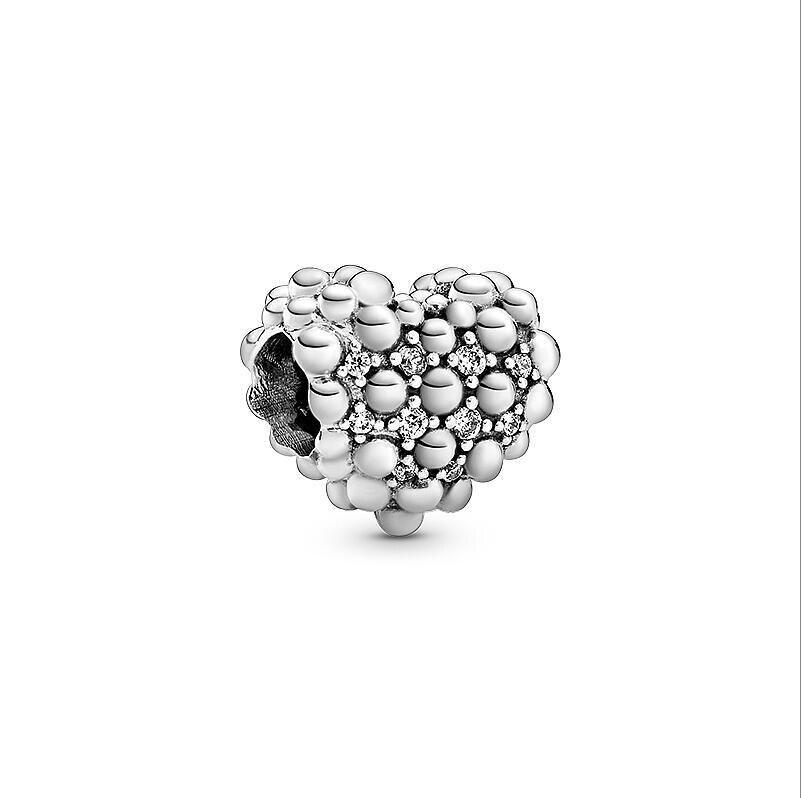 Fit Original Pandora Bracelet 925 Sterling Silver Charms Love Heart  Crystlal Dangle Charm Beads Crystal Diy Jewelry